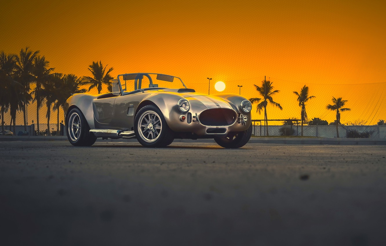 Photo wallpaper Shelby, Car, Classic, Amazing, Front, Sunset, Cobra, Old