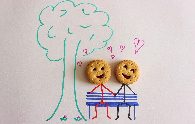 Photo wallpaper tree, figure, hearts, Cookies