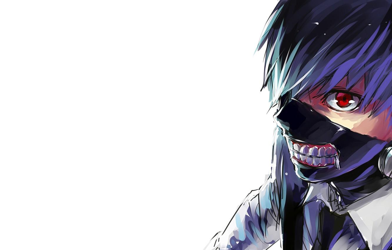 Photo wallpaper look, anime, mask, white background, anime, red eye, white shirt, Tokyo Ghoul, Ken Kanek, Tokyo …