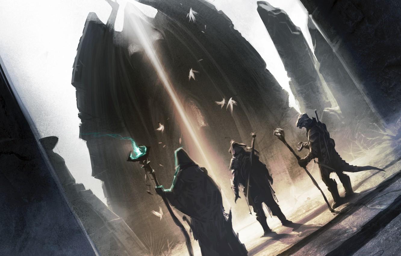 Photo wallpaper warrior, lizard, MAG, skyrim, Skyrim, The Elder Scrolls