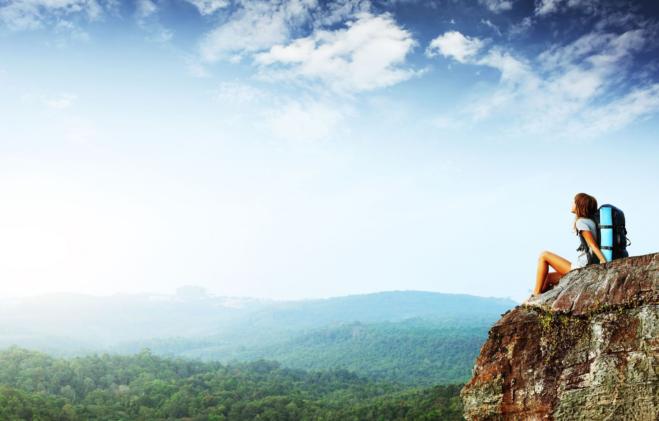 Photo wallpaper forest, the sky, freedom, girl, trees, mood, height, mountain, panorama, journey, tourism, ease, rock, highness …