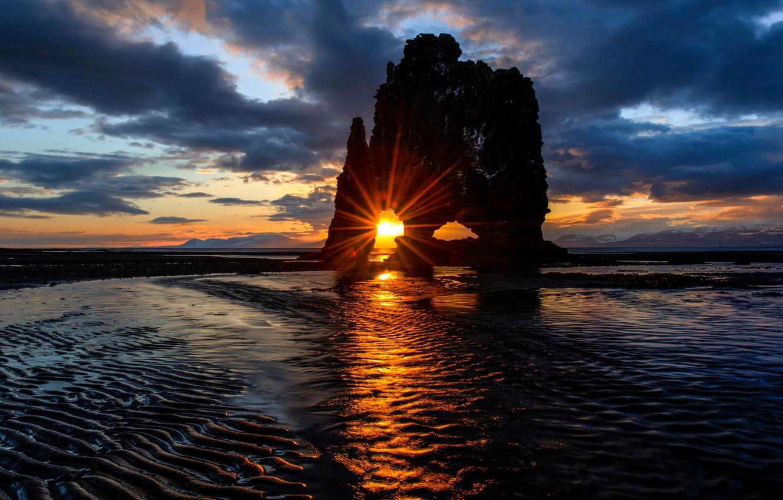 Photo wallpaper sea, the sun, sunset, rock