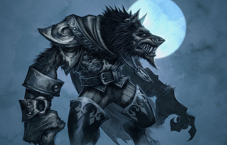 Photo wallpaper the moon, wolf, armor, World of Warcraft, Cataclysm, werewolf, wow, the Worgen