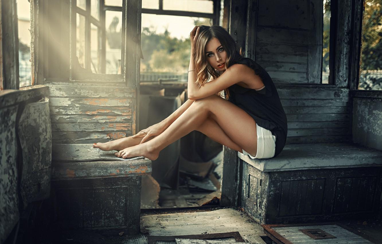 Photo wallpaper look, girl, old wagon