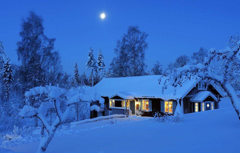 Photo wallpaper winter, forest, light, snow, trees, night, lights, the moon, Sweden, Winter, Sweden, night, scrap, Dalarna, …