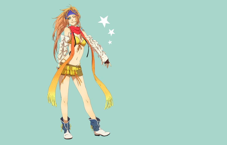 Photo wallpaper girl, stars, the game, Japanese, skirt, minimalism, anime, scarf, belly, art, blonde, Asian, long hair, …