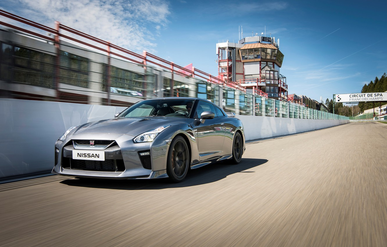 Photo wallpaper auto, speed, track, Nissan, GT-R, the front