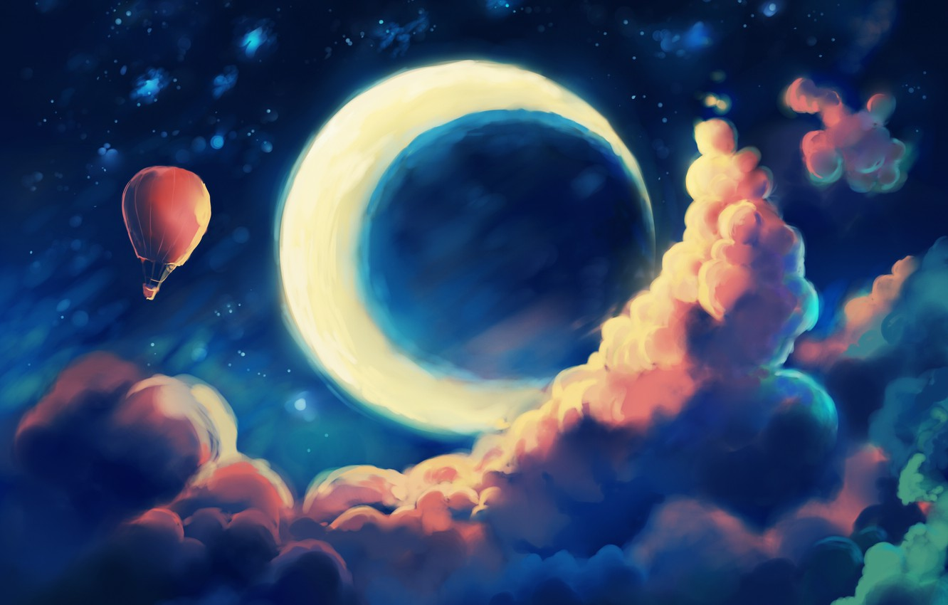 Photo wallpaper the sky, clouds, night, balloon, fantasy, a month, art