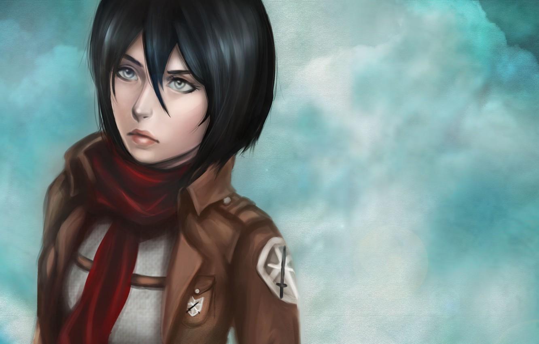 Photo wallpaper eyes, look, girl, face, background, hair, anime, art, manga, Mikasa Ackerman