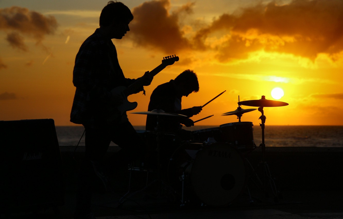 Photo wallpaper sunset, people, the game