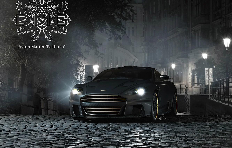 Photo wallpaper night, the inscription, Aston Martin, street, tuning, DBS, pavers, lantern, supercar, coat of arms, tuning, …