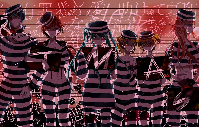 Photo wallpaper letters, girls, art, signs, form, guys, chain, vocaloid, Hatsune Miku, Kagamine Rin, Meiko, Vocaloid, Kaito, …