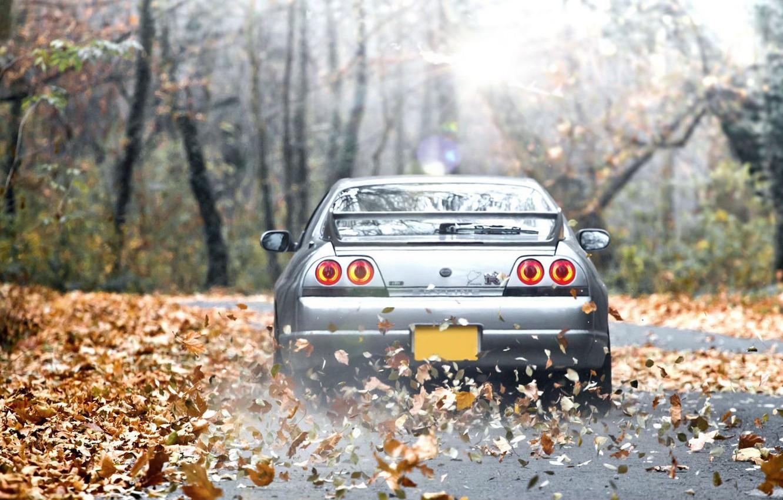 Photo wallpaper The sun, Autumn, Machine, Nissan, Desktop, Japan, Nissan, GT-R, Car, Car, Beautiful, Sun, Car, Skyline, …