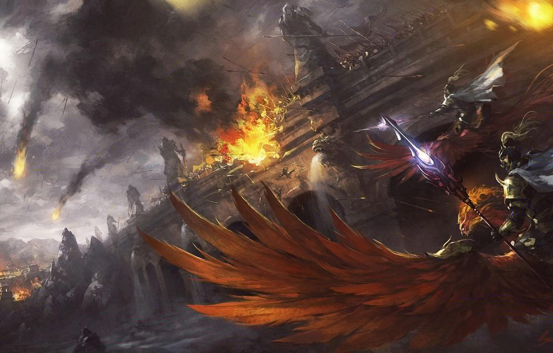 Photo wallpaper flight, birds, bridge, fire, the battle, Art, riders, army