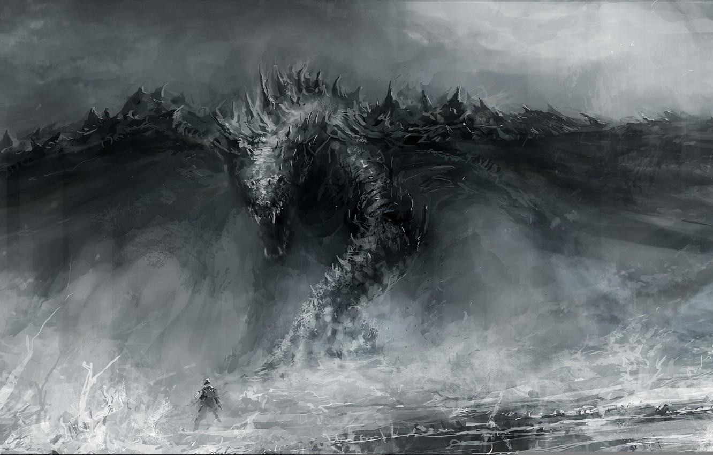 Photo wallpaper dragon, figure, people, art, mouth, artist, fantasy, Chris Cold