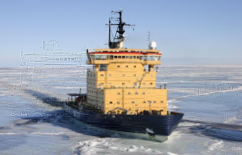 Photo wallpaper ice, sea, winter, ship, sweden, ice-breaker, ymer, bothnia