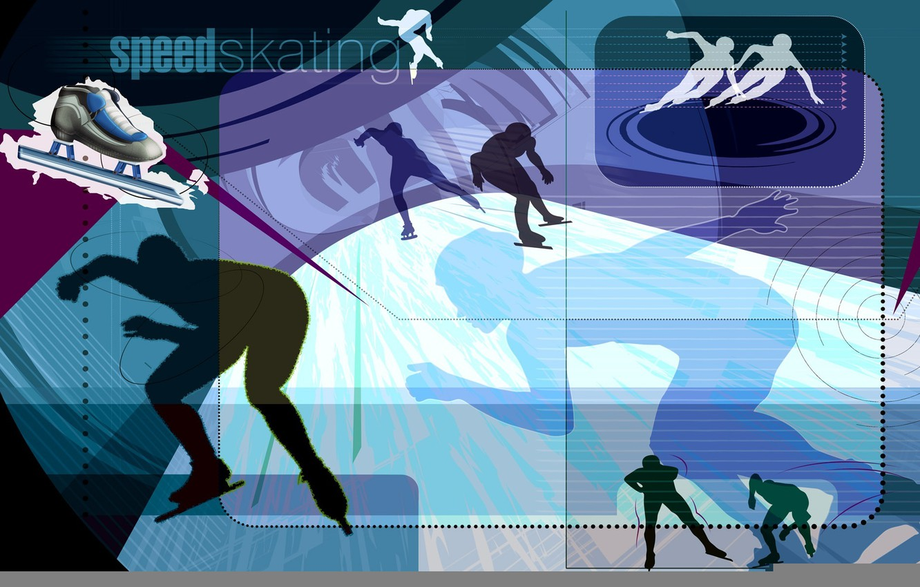 Photo wallpaper ice, abstraction, vector, silhouette, skates, Speed Skating