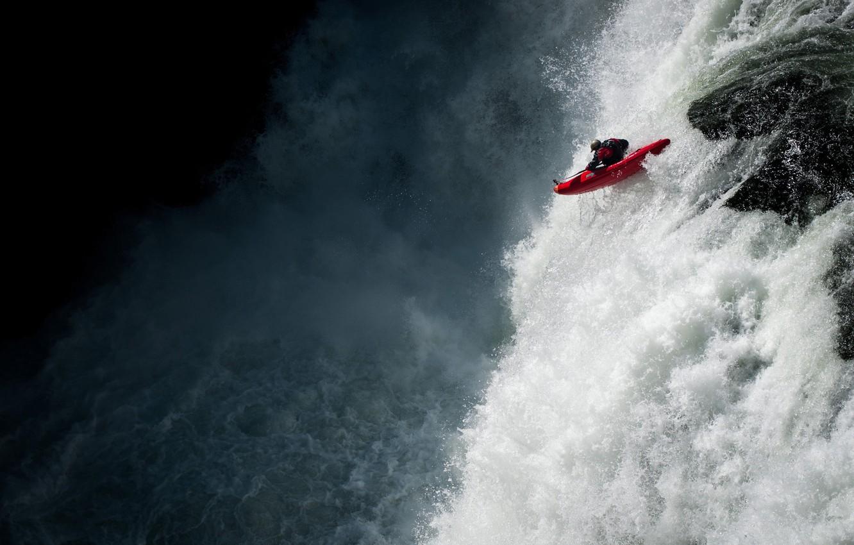 Photo wallpaper river, sport, waterfall, extreme, alloy, kayak