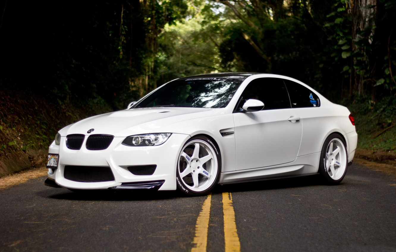 Photo wallpaper white, bmw, BMW, white, drives, side view, e92