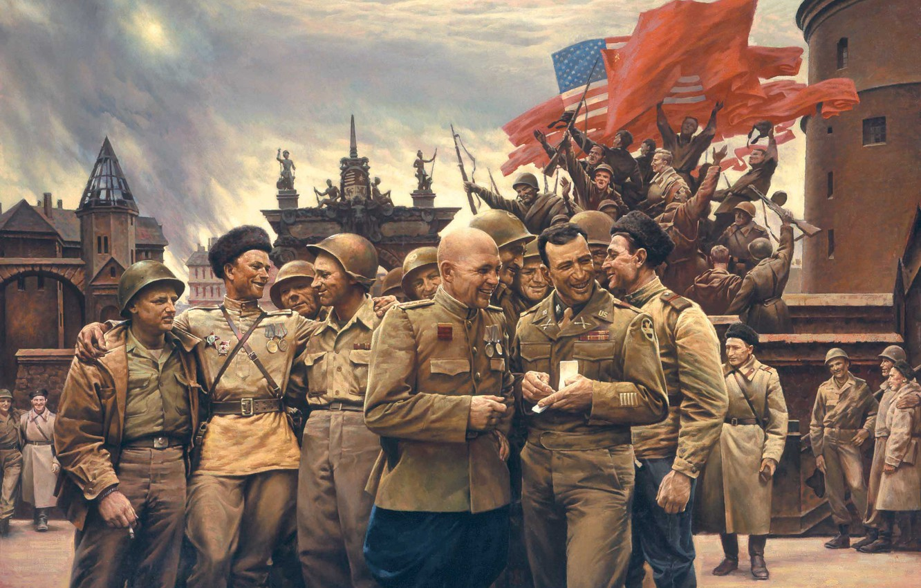 Photo wallpaper war, victory, USSR, soldiers, flags, USA