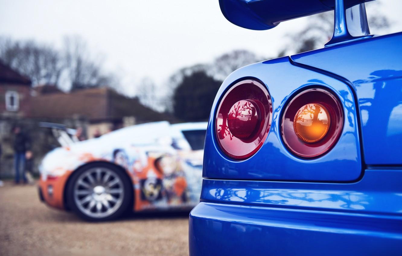 Photo wallpaper Bugatti, Bugatti, Veyron, Nissan, Veyron, Nissan, GT-R, Coupe, Skyline, R34, Skyline, GT-R, JDM, BNR34, 1999, …