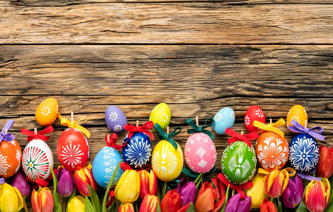 Photo wallpaper eggs, colorful, Easter, tulips, happy, wood, flowers, tulips, spring, Easter, eggs, holiday
