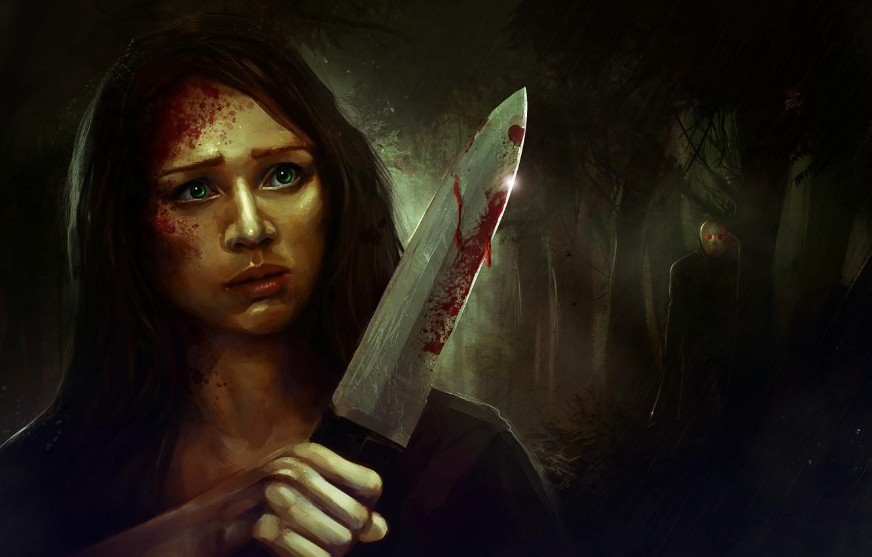 Photo wallpaper girl, night, people, mask, knife, Jason, Killer