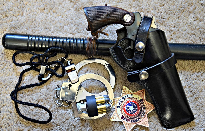 Photo wallpaper icon, Police, handcuffs, stick, Colt, Revolver, Positive Special