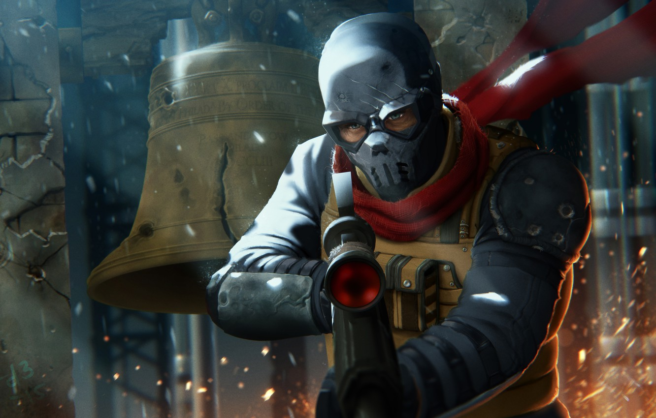 Photo wallpaper mask, art, soldiers, machine, ruins, revolution, bell, the uprising, Homefront: The Revolution