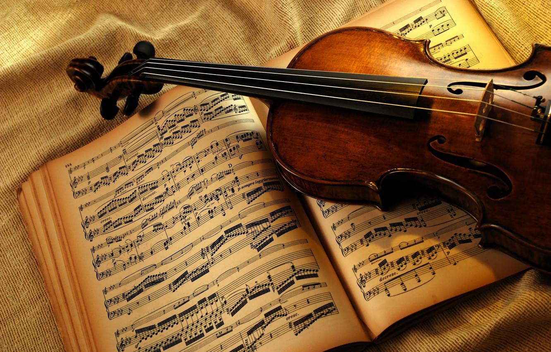Photo wallpaper notes, violin, book