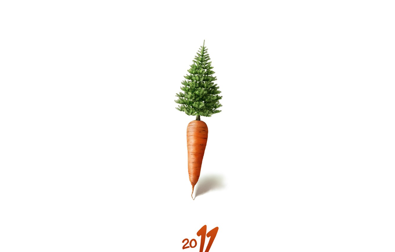 Photo wallpaper tree, new year, carrots