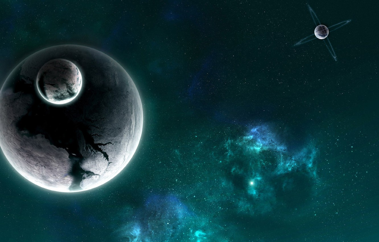 Photo wallpaper planet, satellite, ring, another companion