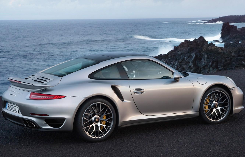 Photo wallpaper rocks, 911, Porsche, Porsche, rear view, Turbo, Turbo