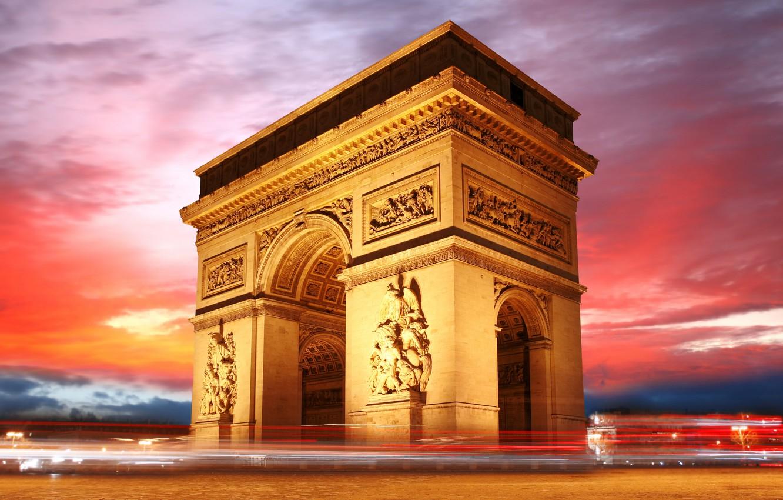 Photo wallpaper the sky, France, Paris, the evening, Arc de Triomphe, Arch