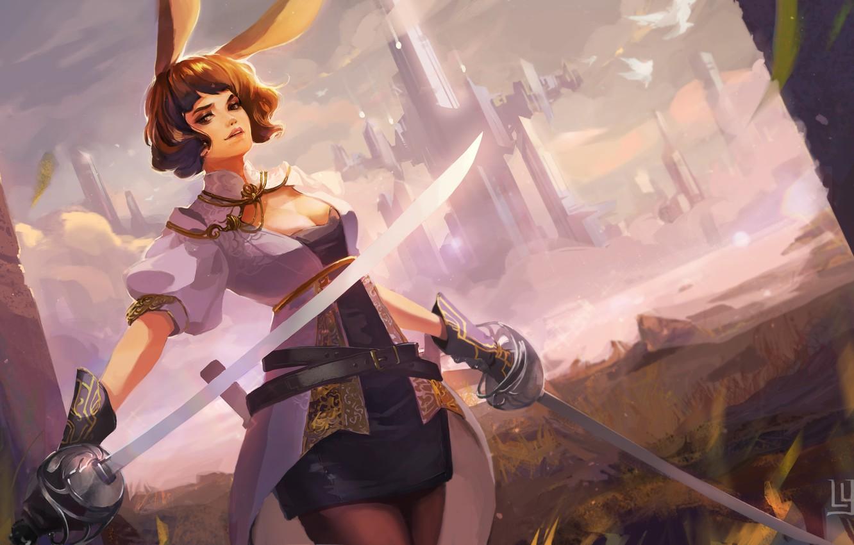 Photo wallpaper girl, the city, weapons, sword, art, ears