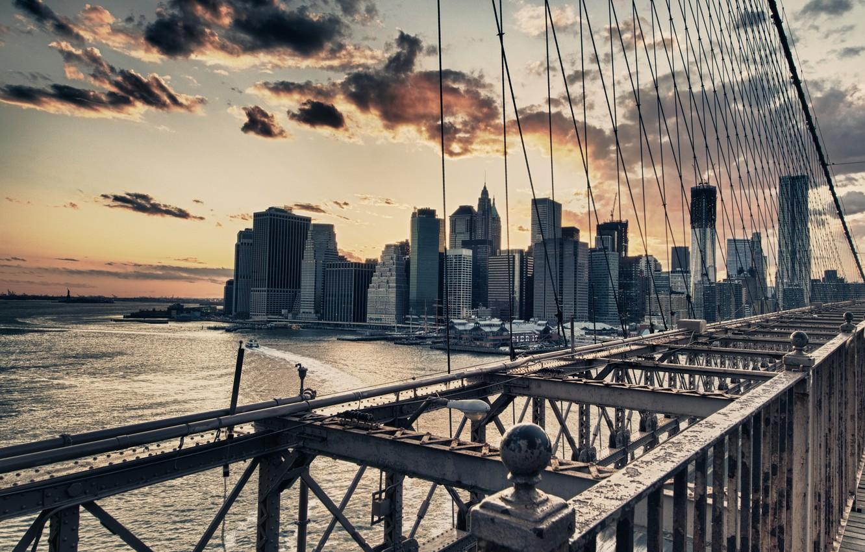 Photo wallpaper USA, New York, NYC Brooklyn Bridge