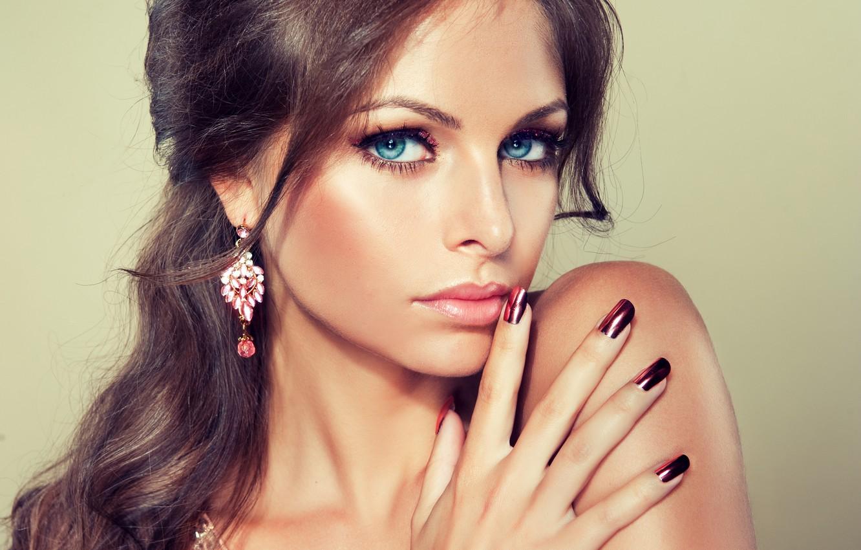 Photo wallpaper eyes, look, girl, smile, earrings, makeup, blue, girl, blue eyes, manicure, manicure, make-up, earrings, a …
