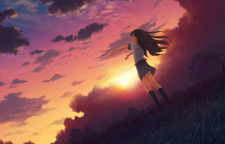 Photo wallpaper the sky, girl, the sun, clouds, joy, sunset, nature, anime, art, form, schoolgirl, mitsuki, 3gatsu