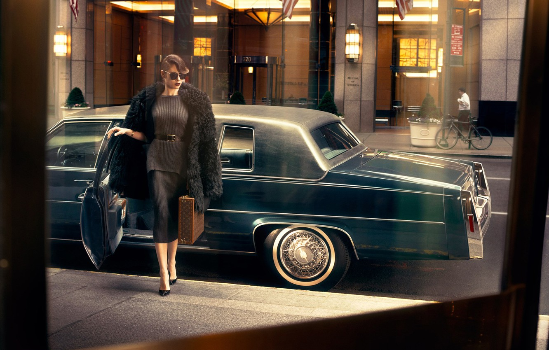 Photo wallpaper machine, model, actress, Olga Kurylenko, car