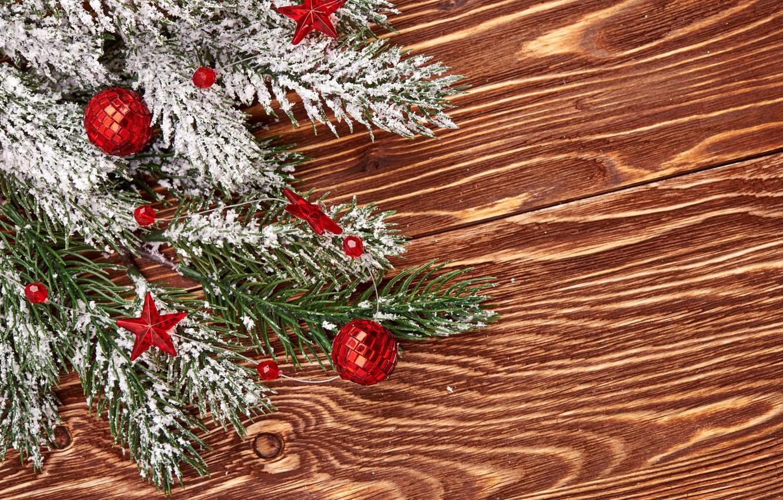Photo wallpaper Snow, New Year, Branches, Balls, Board, garland, Holidays