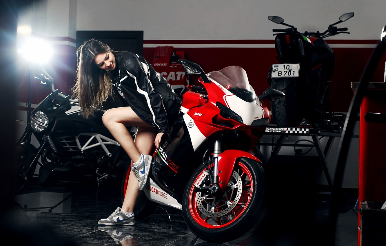 Photo wallpaper Girl, Red, Ducati, Legs, Front, Nike, Shoes, Motocycle, Nice, Ligth, Katharina