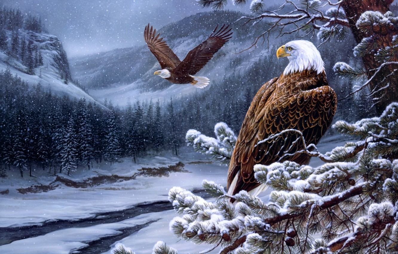 Photo wallpaper winter, forest, mountains, eagle, ate, eagle, painting, the eagles, bumps, river, pine, winter, painting, eagles, …