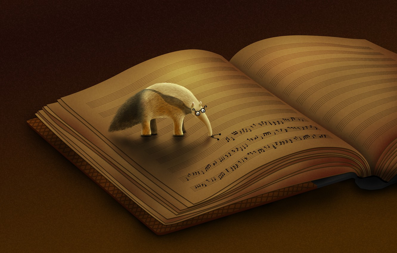 Photo wallpaper notes, Anteater, book