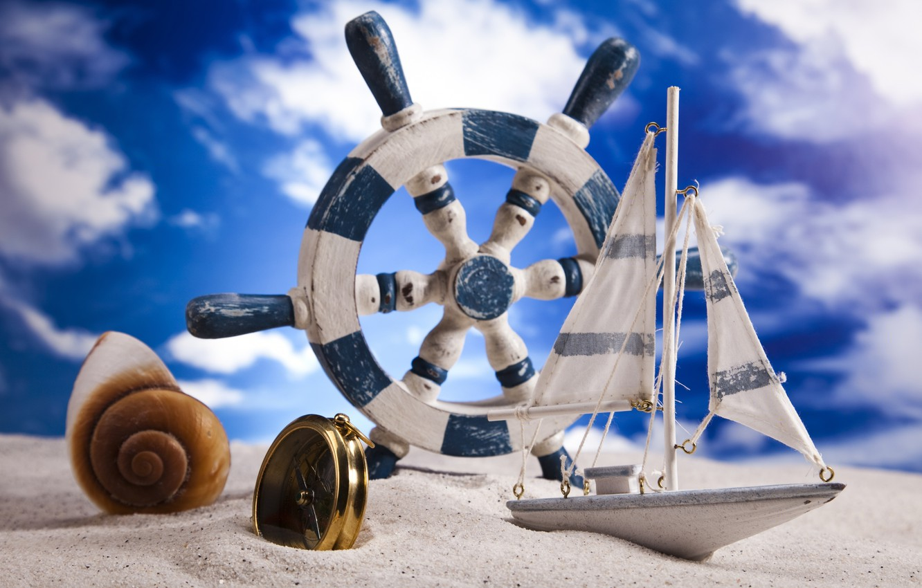 Photo wallpaper sand, the sky, clouds, shell, the wheel, boat, compass
