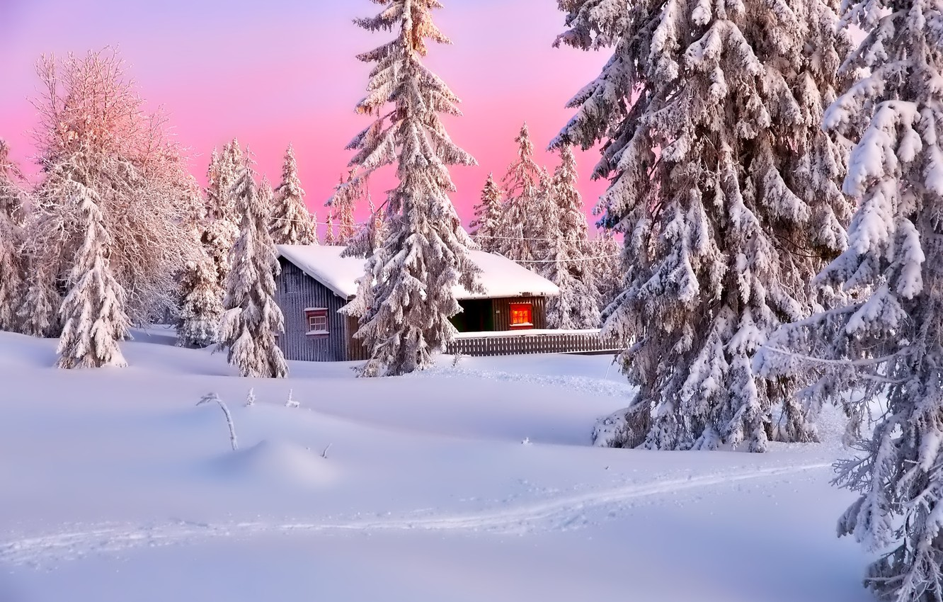 Photo wallpaper winter, the sky, snow, trees, landscape, mountains, nature, house