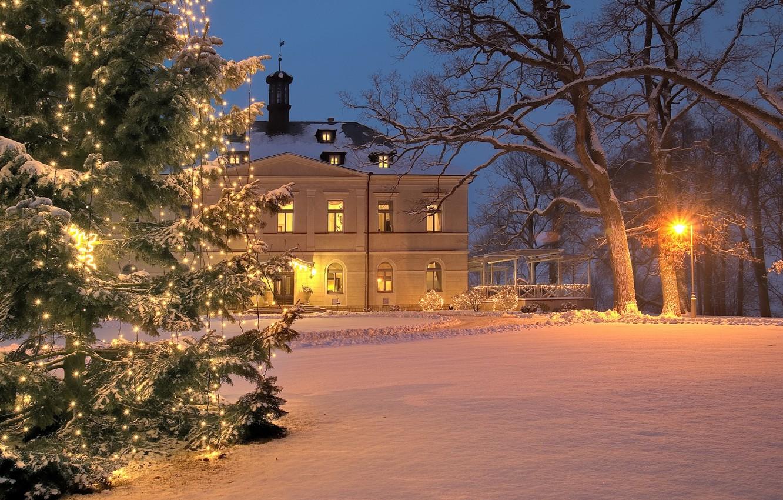 Photo wallpaper winter, decoration, holiday, Villa, tree, Christmas, New year