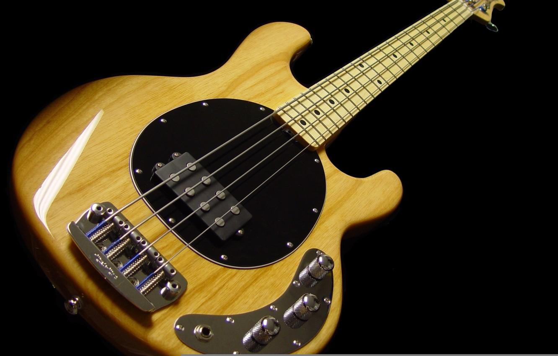 Photo wallpaper black, yellow, bass guitar