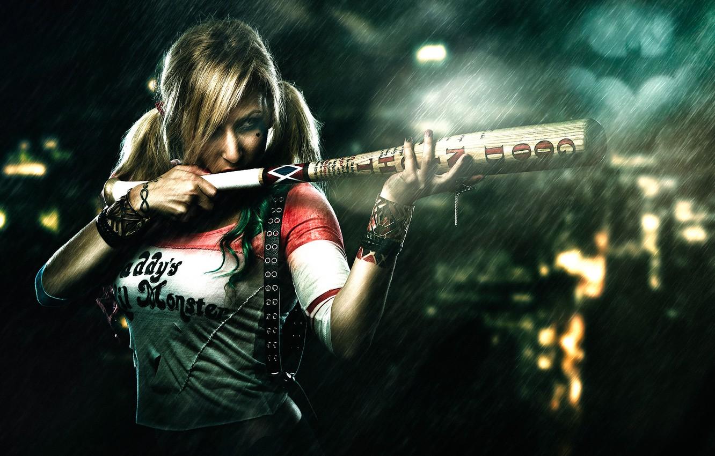 Photo wallpaper girl, rain, treatment, bit, Harley Quinn