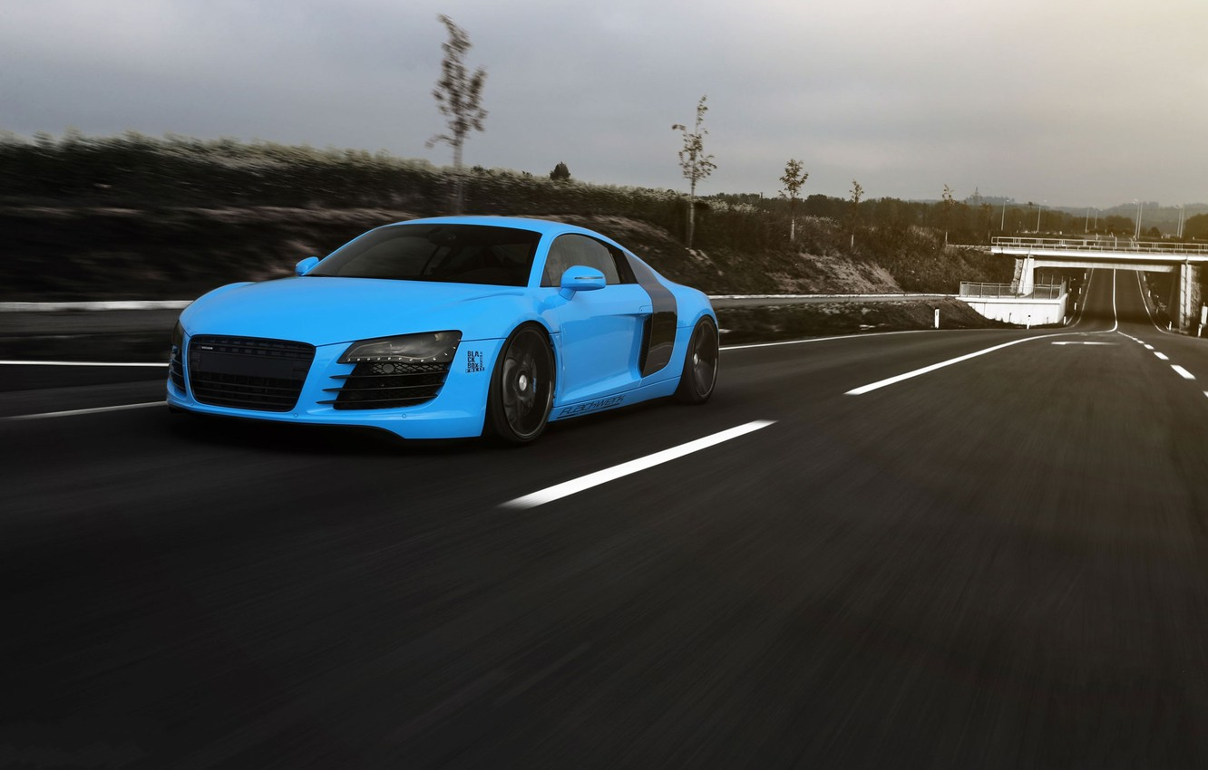 Photo wallpaper road, the sky, clouds, Audi, markup, blue, speed, Audi, road, blue, speed