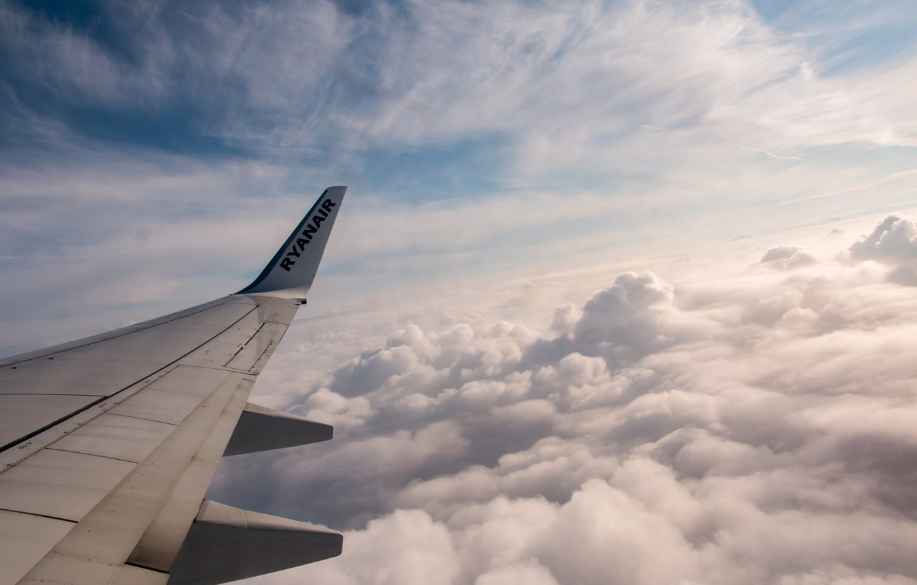 Photo wallpaper the sky, clouds, flight, the plane, wing